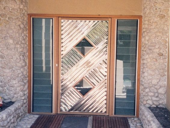 Steel front door patterned